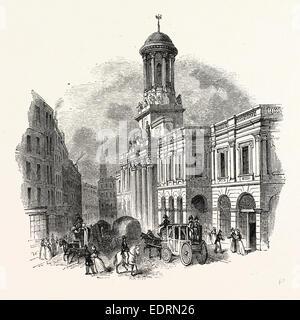 Late Royal Exchange, London, England, engraving 19th century, Britain, UK - Stock Photo