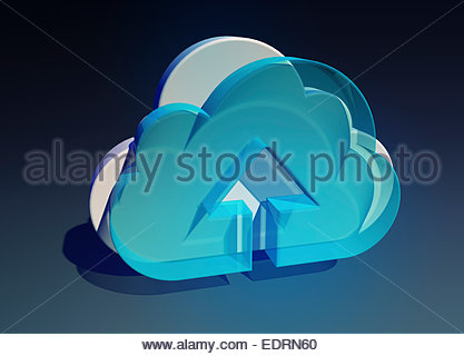 Arrow pointing up in cloud - Stock Photo