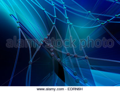 Abstract blue pattern of interconnecting cables and dots - Stock Photo
