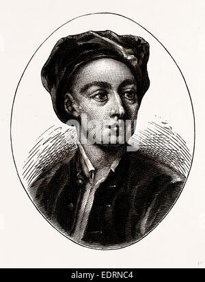 Pope, UK, engraving 1881 - 1884, Alexander Pope, 1688 - 1744, English Poet - Stock Photo