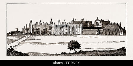 HAMPTON COURT, AS FINISHED BY KING HENRY VIII, from a Drawing by Rollar, Engraved by J. Pye, UK, engraving 1881 - Stock Photo