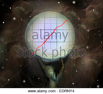 Crystal ball predicting growth in rising line graph - Stock Photo