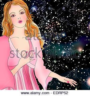 Beautiful woman at night wearing pattern of astrological sign Gemini - Stock Photo