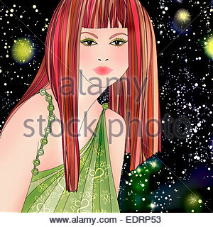 Beautiful woman at night wearing pattern of astrological sign Leo - Stock Photo