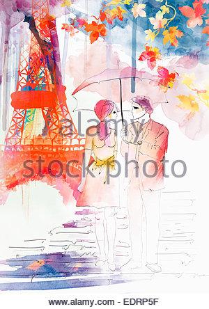 Romantic couple walking in autumn under umbrella near Eiffel Tower - Stock Photo