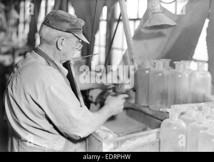 Millville, New Jersey - Glass bottles. Stopper-grinder at T. C. Wheaton Co, March 1937, Lewis Hine, 1874 - 1940, - Stock Photo