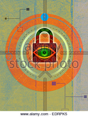 Eye looking through padlock in abstract network pattern - Stock Photo