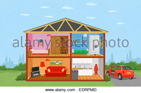Cross section of family home - Stock Photo