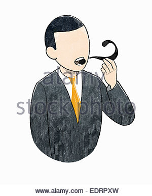 Businessman smoking question mark pipe - Stock Photo