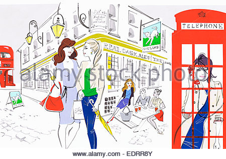 People enjoying city life outside of London pub and using red telephone box - Stock Photo
