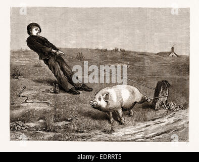 A DOUBLE ENTENDRE, FROM THE PAINTING BY BRITON RIVIERE, 1876 - Stock Photo