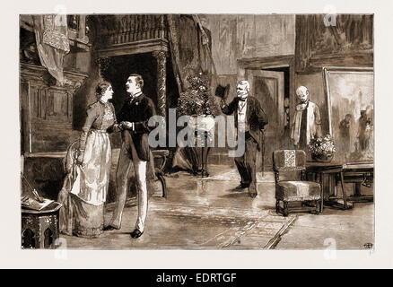 SCENE IN ACT IV. OF 'YOUNG FOLKS' WAYS,' THE NEW PLAY AT THE ST. JAMES'S THEATRE, LONDON, UK, 1883: 'OLD MAN' ROGERS - Stock Photo
