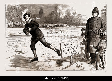 THE RECENT FROST AND SNOW STORM IN LONDON: 'DANGER!' A SCENE IN ST. JAMES'S PARK, UK, 1886 - Stock Photo