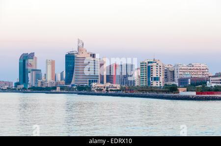 Kuwait Salmiya waterfront buildings in Kuwait - Stock Photo