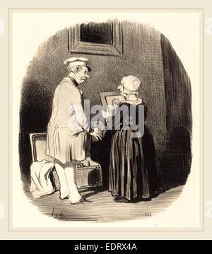 Honoré Daumier (French, 1808-1879), Tiens, ma femme, v'la mon portrait, 1846, lithograph - Stock Photo