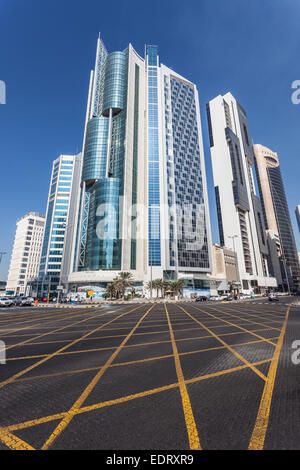 Skyscrapers downtown in Kuwait City. - Stock Photo