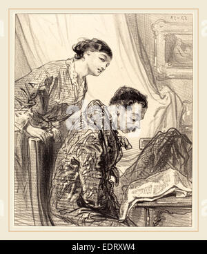 Paul Gavarni (French, 1804-1866), Discussion of Budget, lithograph - Stock Photo