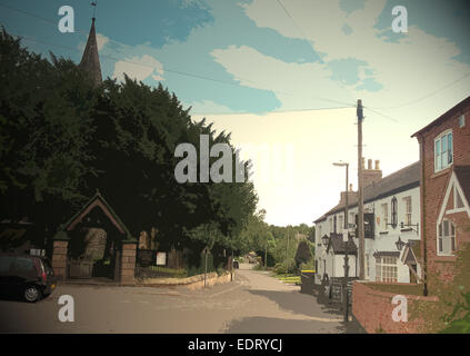 Village Scene in Ockbrook, The White Swan Public House can be seen here on the right of picture and to the left, - Stock Photo