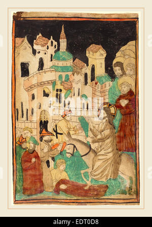 German 15th Century, Christ's Entry into Jerusalem, probably 1450, woodcut in light brown, hand-colored in red lake, - Stock Photo