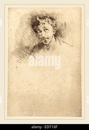 James McNeill Whistler (American, 1834-1903), Whistler with the White Lock, 1879, etching - Stock Photo