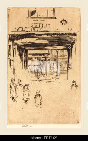 James McNeill Whistler (American, 1834-1903), Drury Lane, c. 1880-1881, etching - Stock Photo