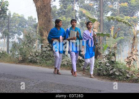 Dhaka 08 January 2015. Three neighboring school-girls on their way to school. - Stock Photo