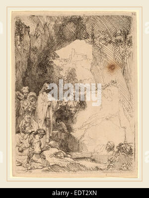 Rembrandt van Rijn (Dutch, 1606-1669), The Raising of Lazarus: Small Plate, 1642, etching - Stock Photo