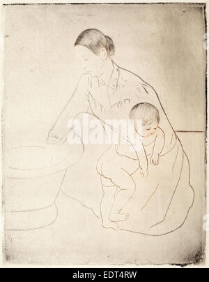 Mary Cassatt, The Bath, American, 1844 - 1926, c. 1891, drypoint and soft-ground etching - Stock Photo