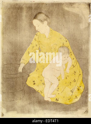 Mary Cassatt, The Bath, American, 1844 - 1926, c. 1891, drypoint and soft-ground etching in yellow,  black, and - Stock Photo