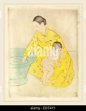 Mary Cassatt, The Bath, American, 1844-1926, c. 1891, drypoint and soft-ground etching in yellow, blue, black, and - Stock Photo
