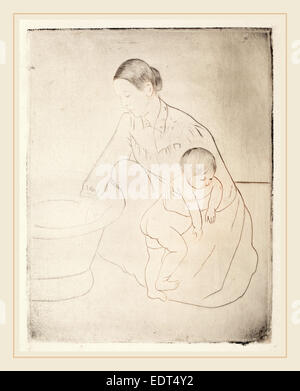 Mary Cassatt, The Bath, American, 1844-1926, c. 1891, drypoint and soft-ground etching - Stock Photo