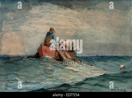 Winslow Homer, Hauling in the Nets, American, 1836 - 1910, 1887, watercolor over graphite - Stock Photo