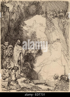 Rembrandt van Rijn (Dutch, 1606 - 1669), The Raising of Lazarus: Small Plate, 1642, etching on laid paper - Stock Photo