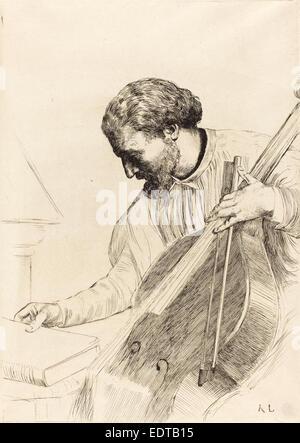 Alphonse Legros, Contre-bass Player (Le joueur de contre-basse), French, 1837 - 1911, etching - Stock Photo