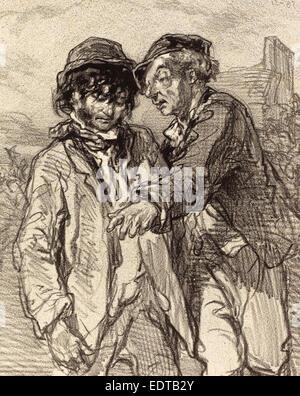 Paul Gavarni (French, 1804 - 1866), Histoire d'en dire deux, lithograph - Stock Photo