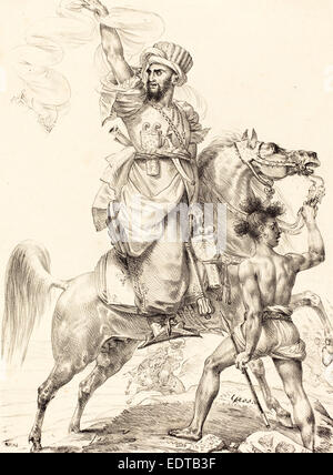 Antoine-Jean Gros (French, 1771 - 1835), The Chief of the Mamelukes on Horseback, 1817, lithograph - Stock Photo