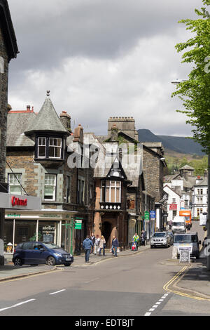 Ambleside in the Lake District showing Lake Road in the town centre looking north towards Market Place. - Stock Photo