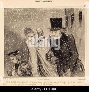 Honoré Daumier (French, 1808 - 1879), Tu m'embêtes, mon épouse! v'la une heure, 1843, lithograph - Stock Photo