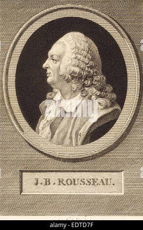 Augustin de Saint-Aubin (French, 1736 - 1807), Jean-Baptiste Rousseau, 1802, engraving over etching on laid paper - Stock Photo