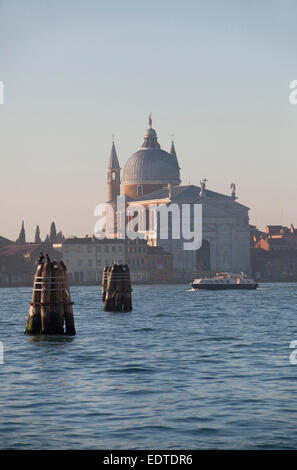 A landscape looking out across the canal Giudecca to Giudecca island from Venice. - Stock Photo