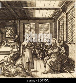 Léonard Gaultier (French, 1561 - 1641), Christ in the House of Mary and Martha, probably c. 1576-1580, engraving - Stock Photo