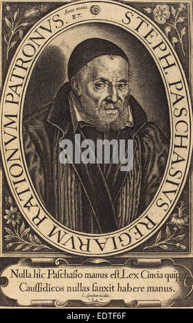 Léonard Gaultier (French, 1561 - 1641), Stephanus Paschinus, 1617, engraving - Stock Photo