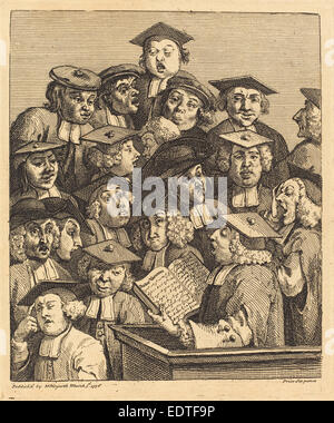 William Hogarth (English, 1697 - 1764), Scholars at a Lecture, 1736-1737, etching and engraving - Stock Photo