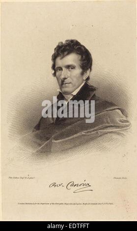 James Thomson possibly after John Jackson (British, 1789 - 1850), Antonio Canova, published 1822, stipple engraving - Stock Photo