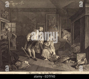 Simon Francois Ravenet I after William Hogarth (French, 1706 - 1774), Marriage a la Mode: pl.5, 1745, etching and - Stock Photo