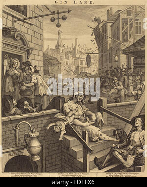William Hogarth (English, 1697 - 1764), Gin Lane, 1751, etching and engraving - Stock Photo
