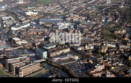 aerial view of the South Yorkshire town of Rotherham, UK - Stock Photo