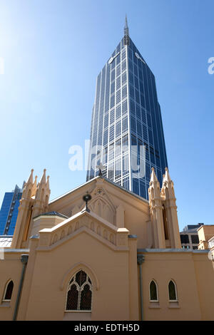 St Francis' Church and The Melbourne Central Office Tower in Melbourne, Australia - Stock Photo