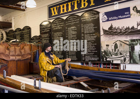 UK, England, Yorkshire, Whitby, old Lifeboat Station, museum display - Stock Photo