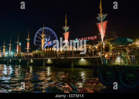 Asiatique, the night market on the Chao Phraya River, Bangkok, Thailand - Stock Photo